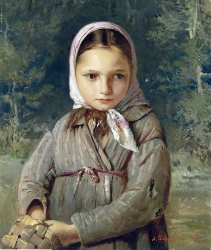Portrait of a young girl in a headscarf. 1874 Oil on canvas. 48.2x38.2