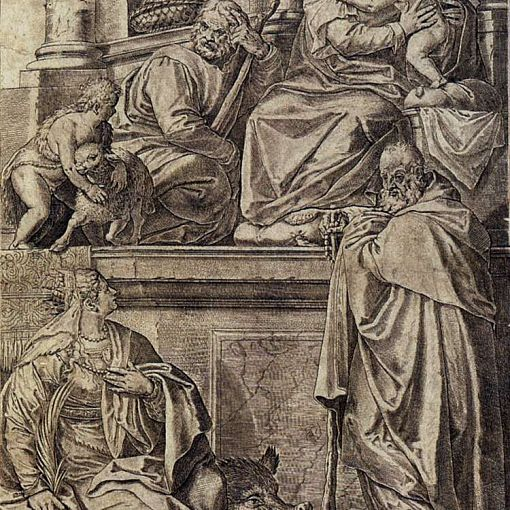 The Holy Family with Sts Anthony Abbot, Catherine and the Infant St John